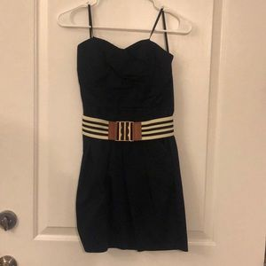 Strapless Navy Blue Dress - Striped Belt - Size 3
